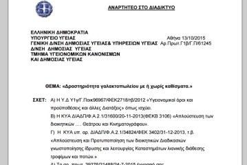 Εγκύκλιος Υπουργείου Υγείας σχετ. με την αποσαφήνιση Γαλακτοπωλείων ως επιχείρηση