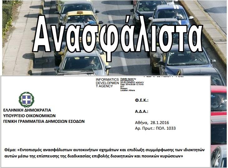 ΑΑΔΕ: Εντοπισμός Ανασφάλιστων Οχημάτων