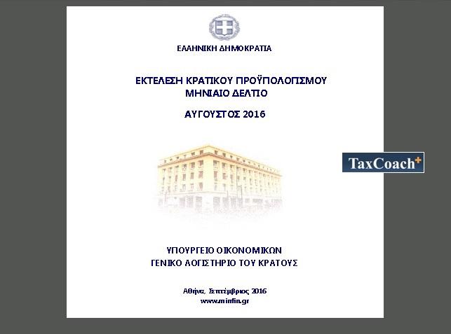 Εκτέλεση Κρατικού Προϋπολογισμού Ιανουαρίου – Αυγούστου 2016