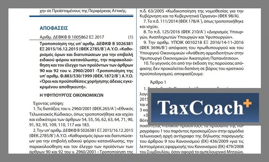 """Τροποποίηση της υπ' αριθμ. ΔΕΦΚΦ/Β/5026381/ΕΞ2015 ΑΥΟ """"Καθορισμός όρων και διατυπώσεων για την Ε.Φ.Κ., την παρακολούθηση και τον έλεγχο των προϊόντων των άρθρων 90 και 92 του ν. 2960/01"""