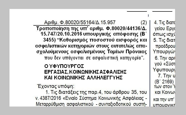 """Τροπ/ση υπουργ. απόφασης """"Καθορισμός ποσοστού εισφοράς κ ασφαλιστικών κατηγοριών στους αυτοτελώς απασχολούμενους ασφαλισμένους Τομέων Πρόνοιας που δεν υπάγονται σε ασφαλιστική κατηγορία"""""""