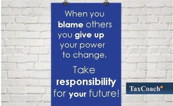 When you blame others you give up your power to change. Take responsibility for your future!