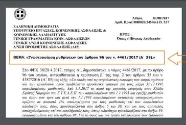 ΥΠΕΚΑΚΑ, Φ80020/34576/Δ15. 537: Γνωστοποίηση ρυθμίσεων του άρθρου 96 του ν. 4461/2017