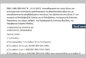 ΠΟΛ.: 1181/17: Ανακαθορισμός των τιμών ζώνης του αντικειμενικού συστήματος προσδιορισμού της φορολογητέας αξίας των με οποιαδήποτε αιτία μεταβιβαζομένων ακινήτων, που βρίσκονται στις Ζώνες Α΄των οικισμών α) Επταλόφου, β) Λιλαίας και γ) Πολυδρόσου, της Δημ. Ενότ. Παρνασσού, του Δήμου Δελφών