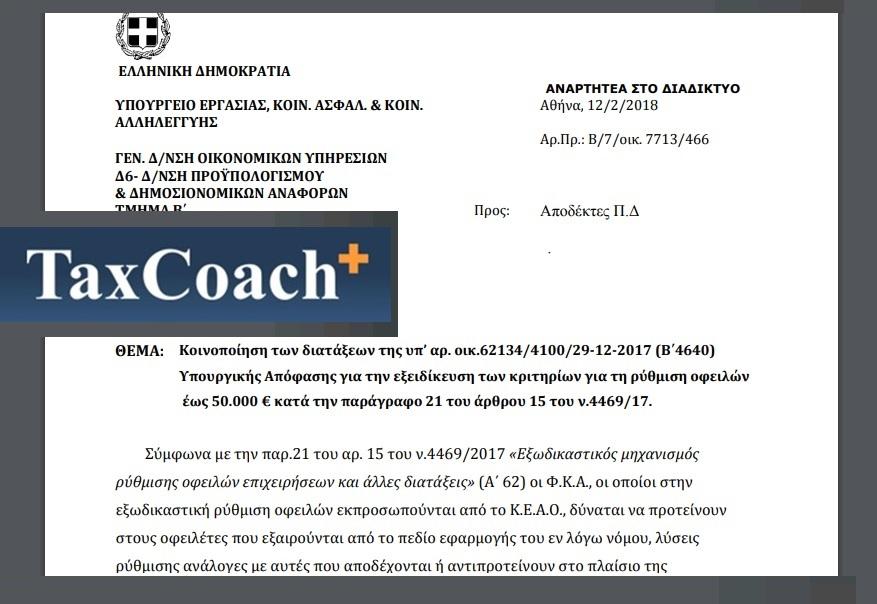 ΥΠΕΚΑΚΑ: Κοινοποίηση των διατάξεων της υπ' αριθμ. οικ. 62134/4100 υ.α. για την εξειδίκευση των κριτηρίων για τη ρύθμιση οφειλών έως €50.000 κατά την παρ. 21 του άρθρου 15 του ν. 4469/17