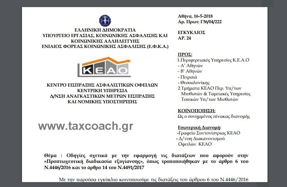 ΕΦΚΑ, ΚΕΑΟ, Εγκ. 24: Οδηγίες σχετικά με την εφαρμογή τις διατάξεων που αφορούν στην «Προπτωχευτική διαδικασία εξυγίανσης», όπως τροποποιήθηκαν με το άρθρο 6 του Ν.4446/16 και το άρθρο 14 του Ν.4491/17