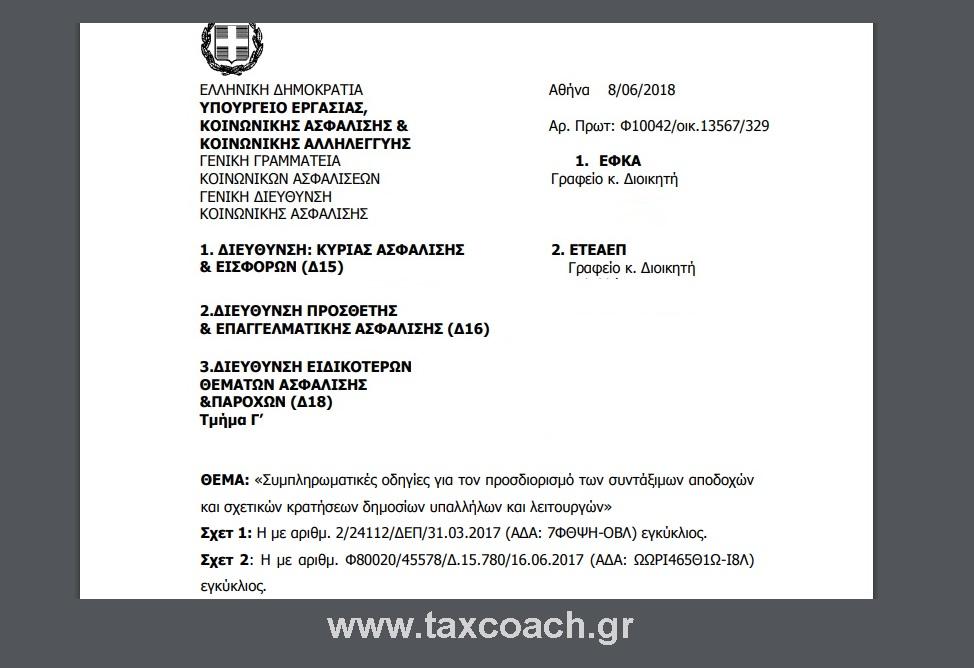 ΥΠΕΚΑΚΑ: Συμπληρωματικές οδηγίες για τον προσδιορισμό των συντάξιμων αποδοχών και σχετικών κρατήσεων δημοσίων υπαλλήλων και λειτουργών