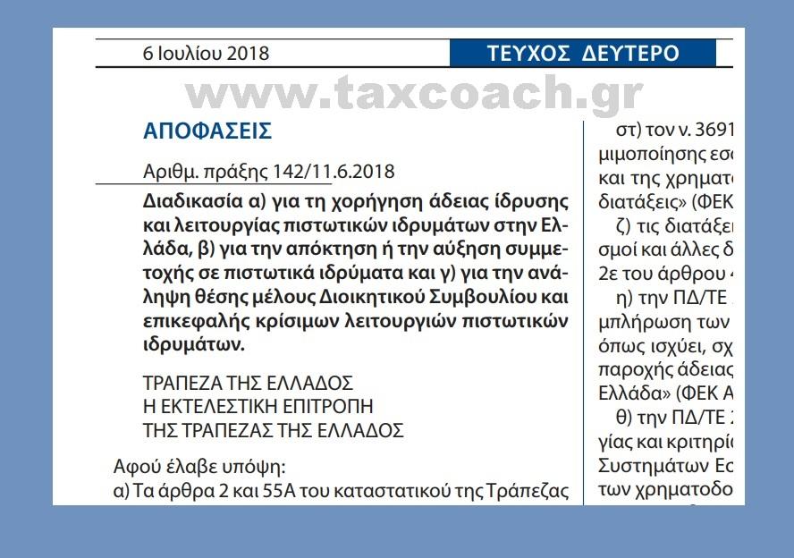 ΤτΕ: Διαδικασία α) για τη χορήγηση άδειας ίδρυσης και λειτουργίας πιστωτικών ιδρυμάτων στην Ελλάδα, β) για την απόκτηση ή την αύξηση συμμετοχής σε πιστωτικά ιδρύματα και γ) για την ανάληψη θέσης μέλους ΔΣ και επικεφαλής κρίσιμων λειτουργιών πιστωτικών ιδρυμάτων