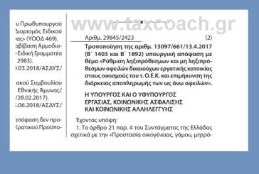 ΥΠΕΚΑΚΑ: Τροποποίηση της ΥΑ με θέμα «Ρύθμιση ληξιπρόθεσμων και μη ληξιπρόθεσμων οφειλών δικαιούχων εργατικής κατοικίας στους οικισμούς του τ. ΟΕΚ και επιμήκυνση της διάρκειας αποπληρωμής των ως άνω οφειλών»