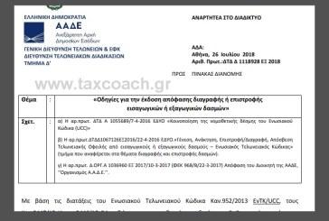 ΑΑΔΕ: Οδηγίες για την έκδοση απόφασης διαγραφής ή επιστροφής εισαγωγικών ή εξαγωγικών δασμών