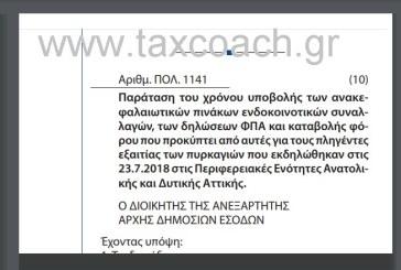Παράταση του χρόνου υποβολής των ανακεφαλαιωτικών πινάκων ενδοκοινοτικών συναλλαγών, των δηλώσεων ΦΠΑ και καταβολής φόρου που προκύπτει από αυτές για τους πληγέντες εξαιτίας των πυρκαγιών που εκδηλώθηκαν στις 23-7-18