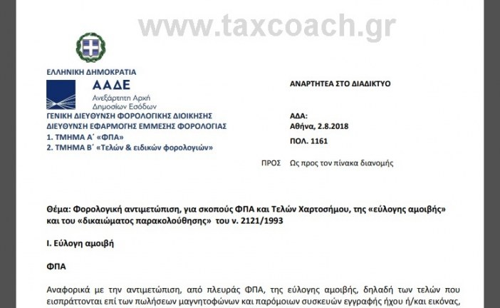 """ΠΟΛ.1161/18: Φορολογική αντιμετώπιση, για σκοπούς ΦΠΑ και Τελών Χαρτοσήμου, της «εύλογης αμοιβής"""" και του «δικαιώματος παρακολούθησης"""""""