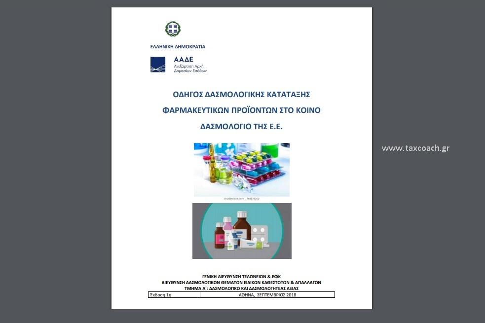 ΑΑΔΕ: Οδηγός δασμολογικής κατάταξης φαρμακευτικών προϊόντων