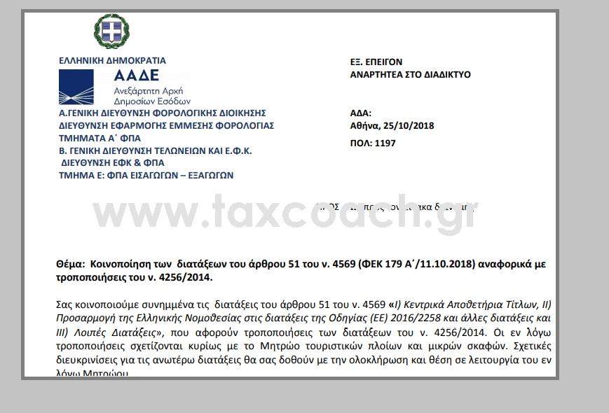 ΠΟΛ. 1197/18: Κοινοποίηση των διατάξεων του άρθρου 51 του ν. 4569 αναφορικά με τροποποιήσεις του ν. 4256/14