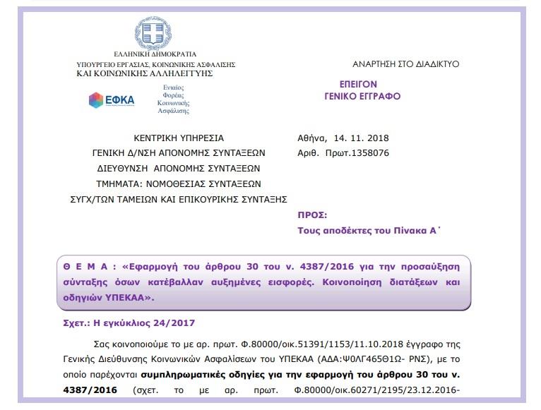 ΕΦΚΑ: Εφαρμογή του άρθρου 30 του ν. 4387/2016 για την προσαύξηση σύνταξης όσων κατέβαλλαν αυξημένες εισφορές. Κοινοποίηση διατάξεων και οδηγιών ΥΠΕΚΑΑ