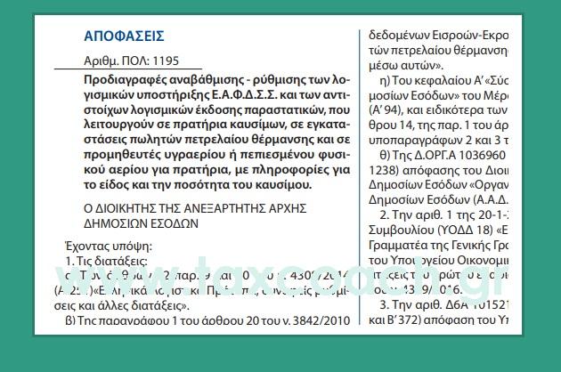 ΠΟΛ.1195/18: Προδιαγραφές αναβάθμισης – ρύθμισης των λογισμικών υποστήριξης Ε.Α.Φ.Δ.Σ.Σ. και των αντιστοίχων λογισμικών έκδοσης παραστατικών, για πρατήρια καυσίμων, εγκαταστάσεις πωλητών πετρελαίου θέρμανσης, προμηθευτές υγραερίου ή …