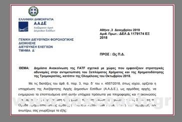 Δημόσια Ανακοίνωση της FATF σχετ. με χώρες που εμφανίζουν στρατηγικές αδυναμίες στην αντιμετώπιση του Ξεπλύματος Χρήματος και της Χρηματοδότησης της Τρομοκρατίας