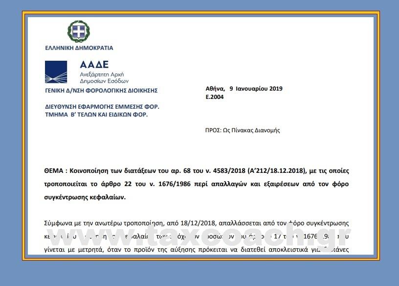 Ε. 2004/19: Κοινοποίηση των διατάξεων του αρ. 68 του ν. 4583/18, με τις οποίες τροποποιείται το άρθρο 22 του ν. 1676/1986 περί απαλλαγών και εξαιρέσεων από τον φόρο συγκέντρωσης κεφαλαίων