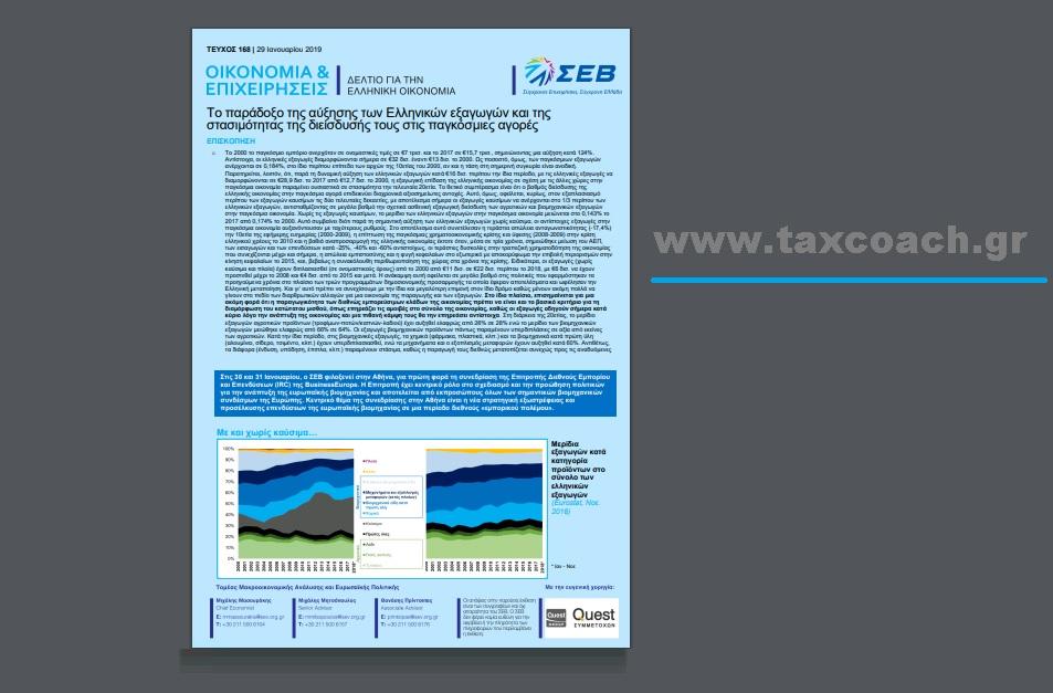 ΣΕΒ: Το παράδοξο της αύξησης των Ελληνικών εξαγωγών και της στασιμότητας της διείσδυσής τους στις παγκόσμιες αγορές