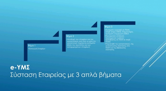 Διαθέσιμη και για τη σύσταση ΟΕ & ΕΕ η πλατφόρμα της Ηλεκτρονικής Υπηρεσίας Μιας Στάσης (e-ΥΜΣ)