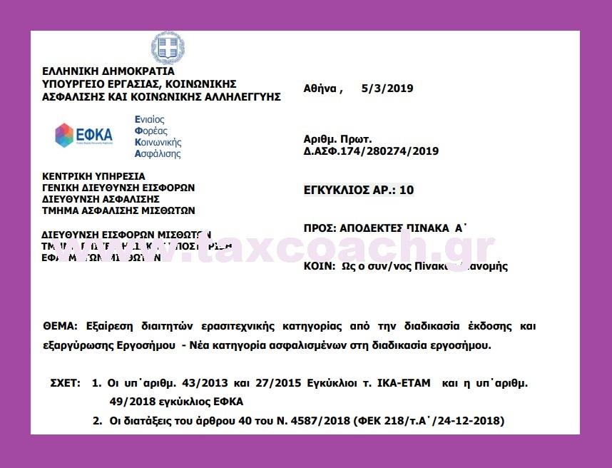 ΕΦΚΑ, Εγκ. 10: Εξαίρεση διαιτητών ερασιτεχνικής κατηγορίας από τη διαδικασία έκδοσης και εξαργύρωσης Εργοσήμου – Νέα κατηγορία ασφαλισμένων στη διαδικασία εργοσήμου