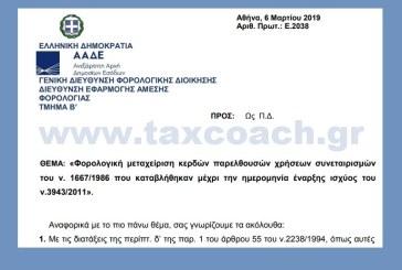 Ε. 2038/19: Φορολογική μεταχείριση κερδών παρελθουσών χρήσεων συνεταιρισμών του ν. 1667/1986 που καταβλήθηκαν μέχρι την ημερομηνία έναρξης ισχύος του ν.3943/2011