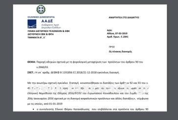 Ε. 2041 /19: Παροχή οδηγιών σχετικά με τη φορολογική μεταχείριση των προϊόντων του άρθρου 90 του ν.2960/01