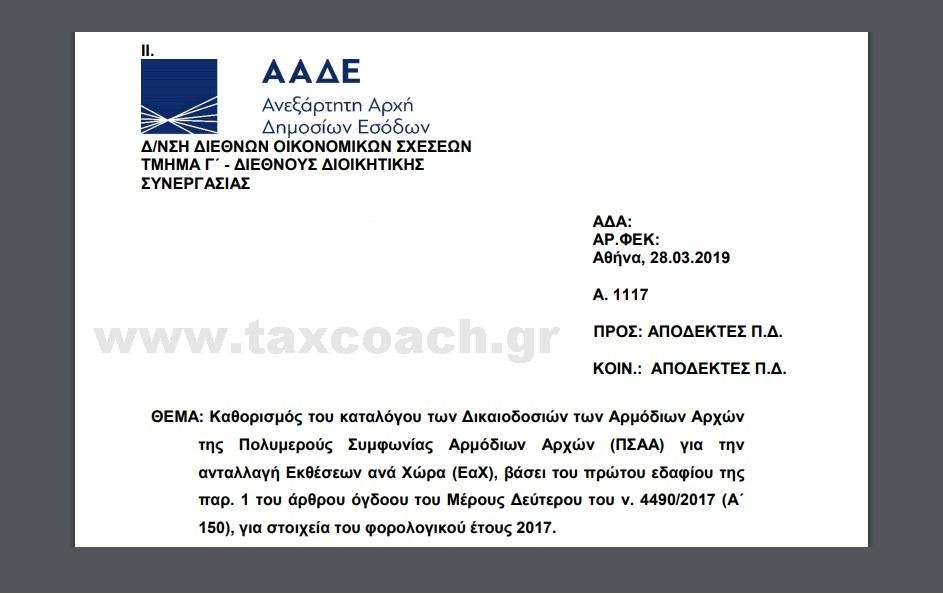 Α. 1117 /19: Καθορισμός του καταλόγου των Δικαιοδοσιών των Αρμόδιων Αρχών της Πολυμερούς Συμφωνίας Αρμόδιων Αρχών (ΠΣΑΑ) για την ανταλλαγή Εκθέσεων ανά Χώρα (ΕαΧ)…