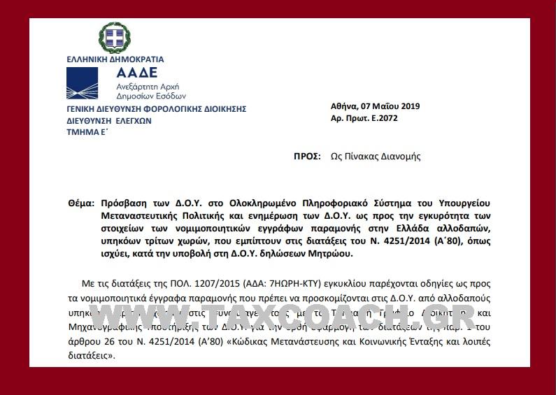 Ε. 2072: Πρόσβαση των ΔΟΥ στο Ολοκληρωμένο Πληροφοριακό Σύστημα του Υπουργείου Μεταναστευτικής Πολιτικής και ενημέρωση των ΔΟΥ ως προς την εγκυρότητα των στοιχείων των νομιμοποιητικών εγγράφων παραμονής στην Ελλάδα αλλοδαπών, υπηκόων τρίτων χωρών, που εμπίπτουν…