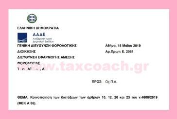 Ε. 2081 /19: Κοινοποίηση των διατάξεων των άρθρων 10, 12, 20 και 23 του ν.4608/19