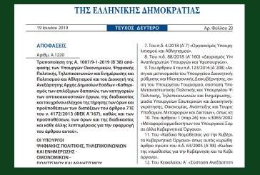 A. 1220 /19: Tροποποίηση της Α.1007 /19 Καθορισμός των επιλέξιμων δαπανών, των κατηγοριών των οπτικοακουστικών έργων, της διαδικασίας και του χρόνου ελέγχου της τήρησης των όρων και προϋποθέσεων των διατάξεων του άρθρου 71Ε του ν. 4172/13, καθώς …