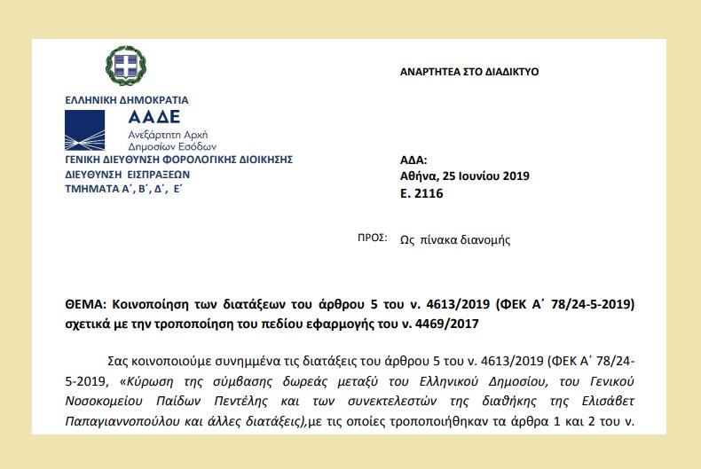 Ε. 2116 /19: Κοινοποίηση των διατάξεων του άρθρου 5 του ν. 4613/19 σχετικά με την τροποποίηση του πεδίου εφαρμογής του ν. 4469/17