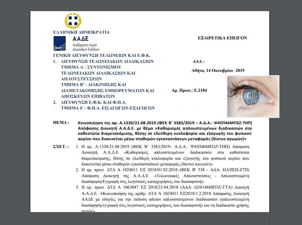 E. 2184 /19: Κοινοποίηση Απόφασης Διοικητή ΑΑΔΕ με θέμα Καθορισμός απλουστευμένων διαδικασιών στα καθεστώτα διαμετακόμισης, θέσης σε ελεύθερη κυκλοφορία και εξαγωγής του φυσικού αερίου που διακινείται μέσω σταθερών εγκαταστάσεων μεταφοράς