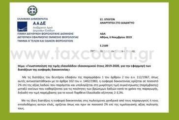 Ε. 2189 /06-11-2019: Γνωστοποίηση της τιμής ελαιολάδου ελαιοκομικού έτους 2019-2020, για την εφαρμογή των διατάξεων της εισφοράς δακοκτονίας