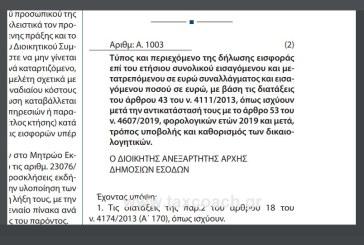 Α. 1003/20: Τύπος και περιεχόμενο της δήλωσης εισφοράς επί του ετήσιου συνολικού εισαγόμενου και μετατρεπόμενου σε ευρώ συναλλάγματος και εισαγόμενου ποσού σε ευρώ…