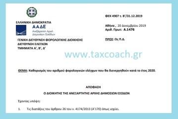 Α. 1476 /20-12-19: Καθορισμός του αριθμού φορολογικών ελέγχων που θα διενεργηθούν κατά το έτος 2020
