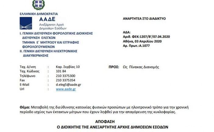 A. 1077 /20: Μεταβολή της διεύθυνσης κατοικίας φυσικών προσώπων με ηλεκτρονικό τρόπο για την χρονική περίοδο ισχύος των έκτακτων μέτρων που έχουν ληφθεί για την απαγόρευση της κυκλοφορίας