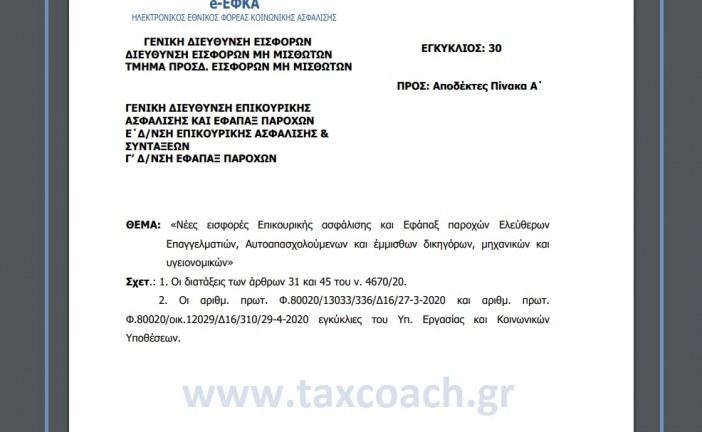 ΕΦΚΑ, Εγκ. 30: Νέες εισφορές Επικουρικής ασφάλισης και Εφάπαξ παροχών Ελεύθερων Επαγγελματιών, Αυτοαπασχολούμενων και έμμισθων δικηγόρων, μηχανικών και υγειονομικών