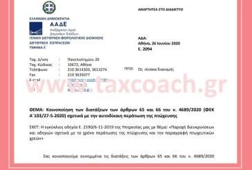 Ε. 2094: Κοινοποίηση διατάξεων του ν. 4689/20 σχετικά με την αυτοδίκαιη περάτωση της πτώχευσης