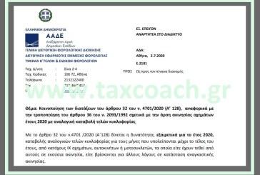 Ε. 2101 /20: Κοινοποίηση διατάξεων του ν. 4701/20,σχετικά με την άρση ακινησίας οχημάτων έτους 2020 με αναλογική καταβολή τελών κυκλοφορίας.