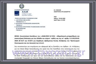 Ε. 2102: Κοινοποίηση διατάξεων του ν.4646/19 – Φορολογική μεταρρύθμιση και αναπτυξιακή διάσταση για την Ελλάδα του αύριο, καθώς και της υπ΄ αριθμ. Α. 1116/20 ΚΥΑ