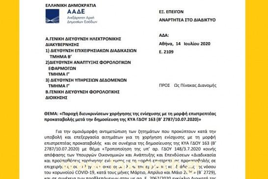 Ε. 2109: Παροχή διευκρινίσεων χορήγησης της ενίσχυσης με τη μορφή επιστρεπτέας προκαταβολής μετά την δημοσίευση της ΚΥΑ ΓΔΟΥ 163