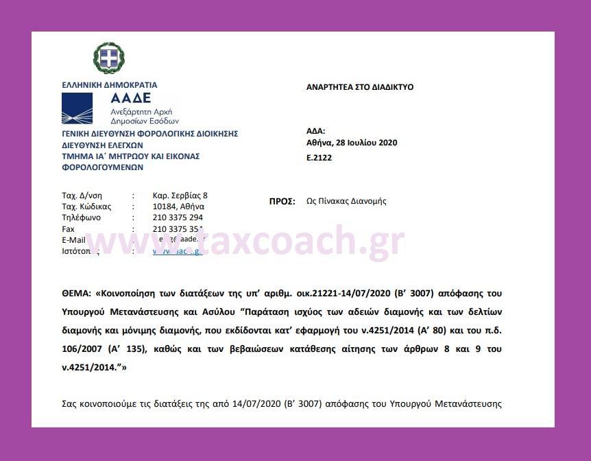 Ε. 2122: Κοινοποίηση διατάξεων, περί Παράτασης ισχύος των αδειών διαμονής και των δελτίων διαμονής και μόνιμης διαμονής, που εκδίδονται…