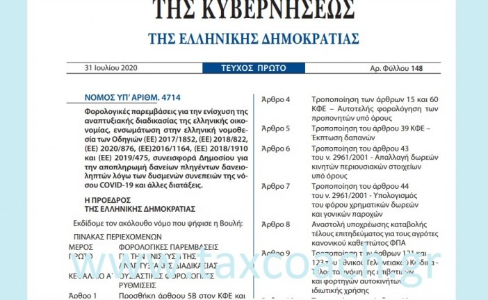 N. 4714/20: Φορολογικές παρεμβάσεις για την ενίσχυση της αναπτυξιακής διαδικασίας της ελληνικής οικονομίας… συνεισφορά Δημοσίου για την αποπληρωμή δανείων πληγέντων δανειοληπτών λόγω COVID-19…