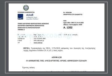 Α. 1202: Τροποποίηση της υπό στοιχεία ΠΟΛ. 1176/18 απόφασης του Διοικητή της ΑΑΔΕ, όπως ισχύει.