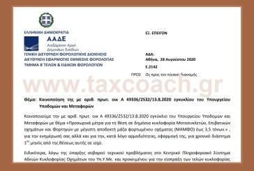 ΑΑΔΕ, E. 2142: Κοινοποίηση της Α 49336/2532/13.8.2020 εγκυκλίου του Υπουργείου Υποδομών και Μεταφορών.