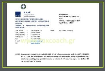 """Ε. 2145: Κοινοποίηση της Α.1194/20 – Τροποποίηση της Α.1117/20 """"Όροι και διατυπώσεις για την απαλλαγή από τον Ειδικό Φόρο Κατανάλωσης της αιθυλικής αλκοόλης, που προβλέπεται από… του ν. 2960/01"""""""