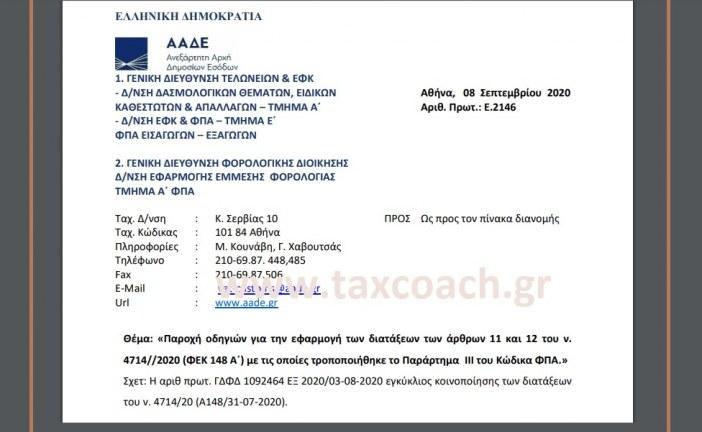 Ε. 2146: Παροχή οδηγιών για την εφαρμογή των διατάξεων των άρθρων 11 και 12 του ν. 4714/20 με τις οποίες τροποποιήθηκε το Παράρτημα ΙΙΙ του Κώδικα ΦΠΑ.