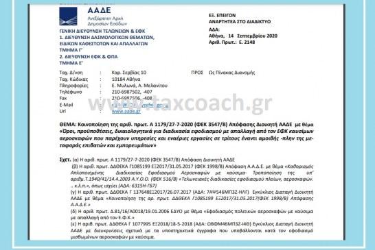 Ε. 2148: Κοινοποίηση της Α 1179/20 – Όροι, προϋποθέσεις, δικαιολογητικά για διαδικασία εφοδιασμού με απαλλαγή από τον ΕΦΚ καυσίμων αεροσκαφών που παρέχουν υπηρεσίες και εναέριες εργασίες σε τρίτους -πλην της μεταφοράς…