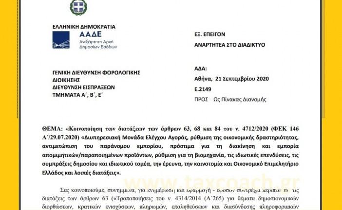 Ε. 2149: Κοινοποίηση διατάξεων του ν. 4712/20 – Διυπηρεσιακή Μονάδα Ελέγχου Αγοράς, ρύθμιση της οικονομικής δραστηριότητας, αντιμετώπιση του παράνομου εμπορίου, πρόστιμα για τη διακίνηση και εμπορία απομιμητικών/παραποιημένων προϊόντων, ρύθμιση για τη βιομηχανία…
